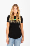 The Goat Rainbow Stripe Ribbed Tee in Black