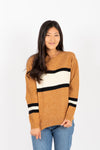 The Farris Block Stripe Sweater in Camel, studio shoot; front view