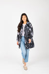 Joules: Golightly Printed Waterproof Packaway Jacket in Grey Floral, studio shoot; front view