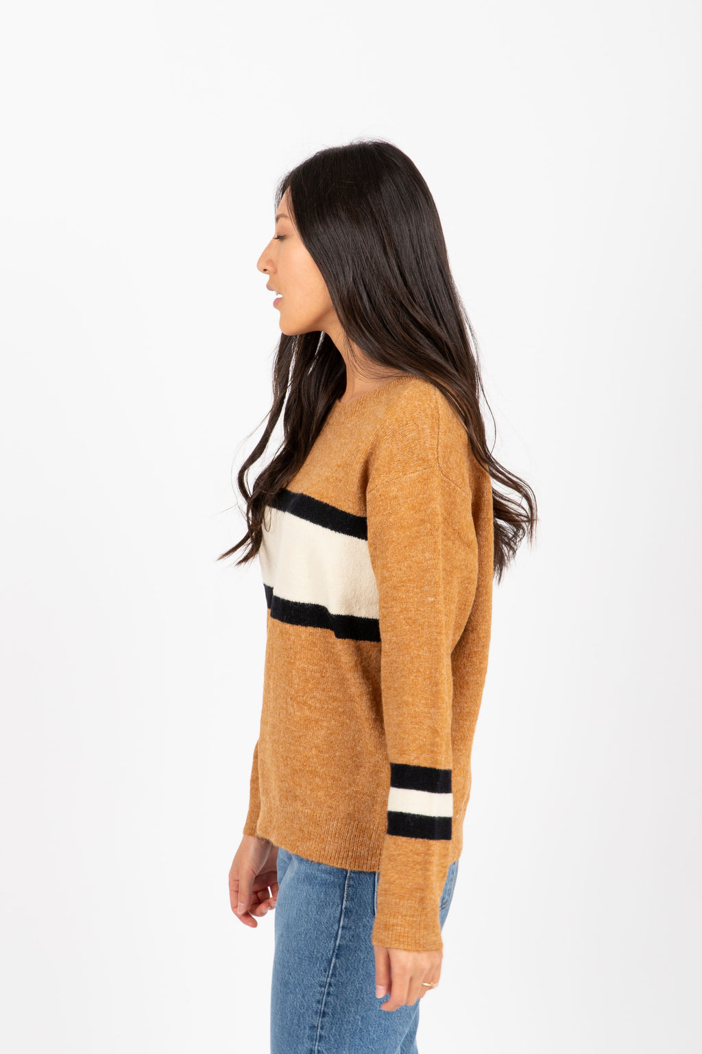 The Farris Block Stripe Sweater in Camel, studio shoot; side view