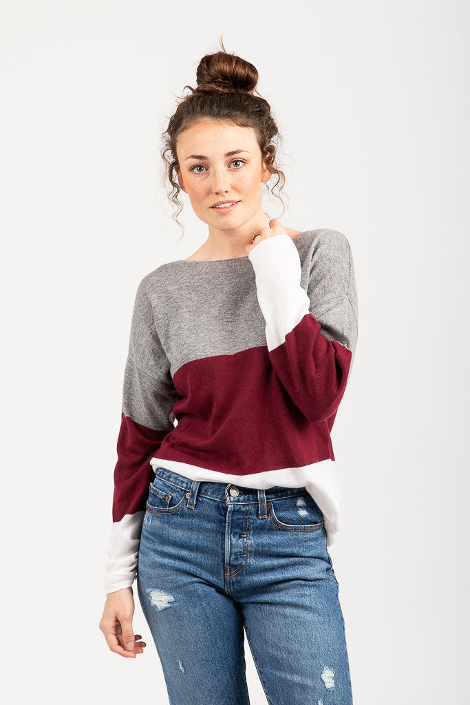 The Atlas Striped Sweater Blouse in Burgundy