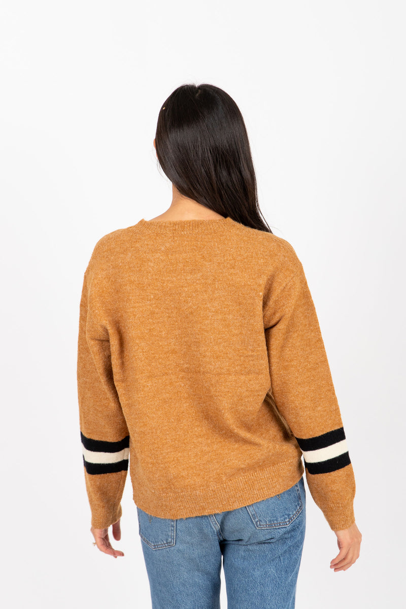 The Farris Block Stripe Sweater in Camel, studio shoot; back view