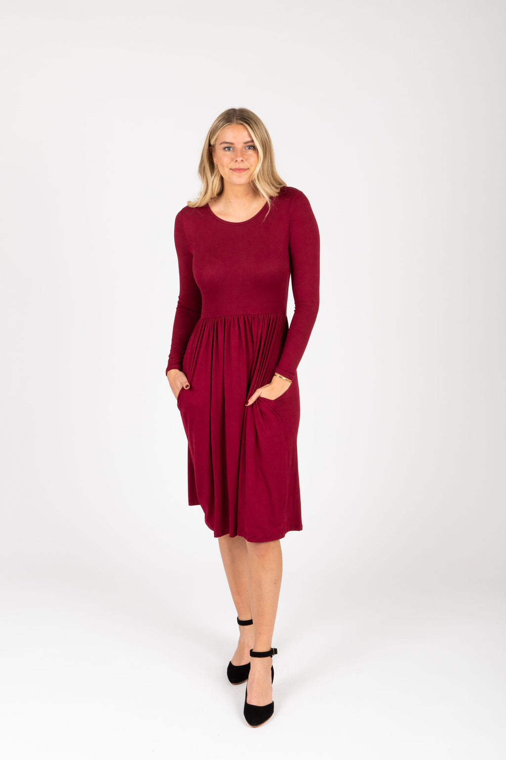 The Rosie Casual Empire Dress in Burgundy