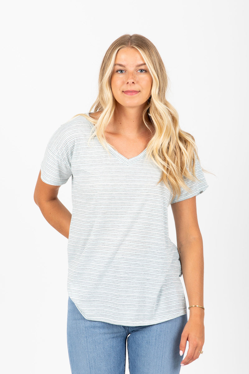 The Idylle Striped V-Neck Tee in Sky