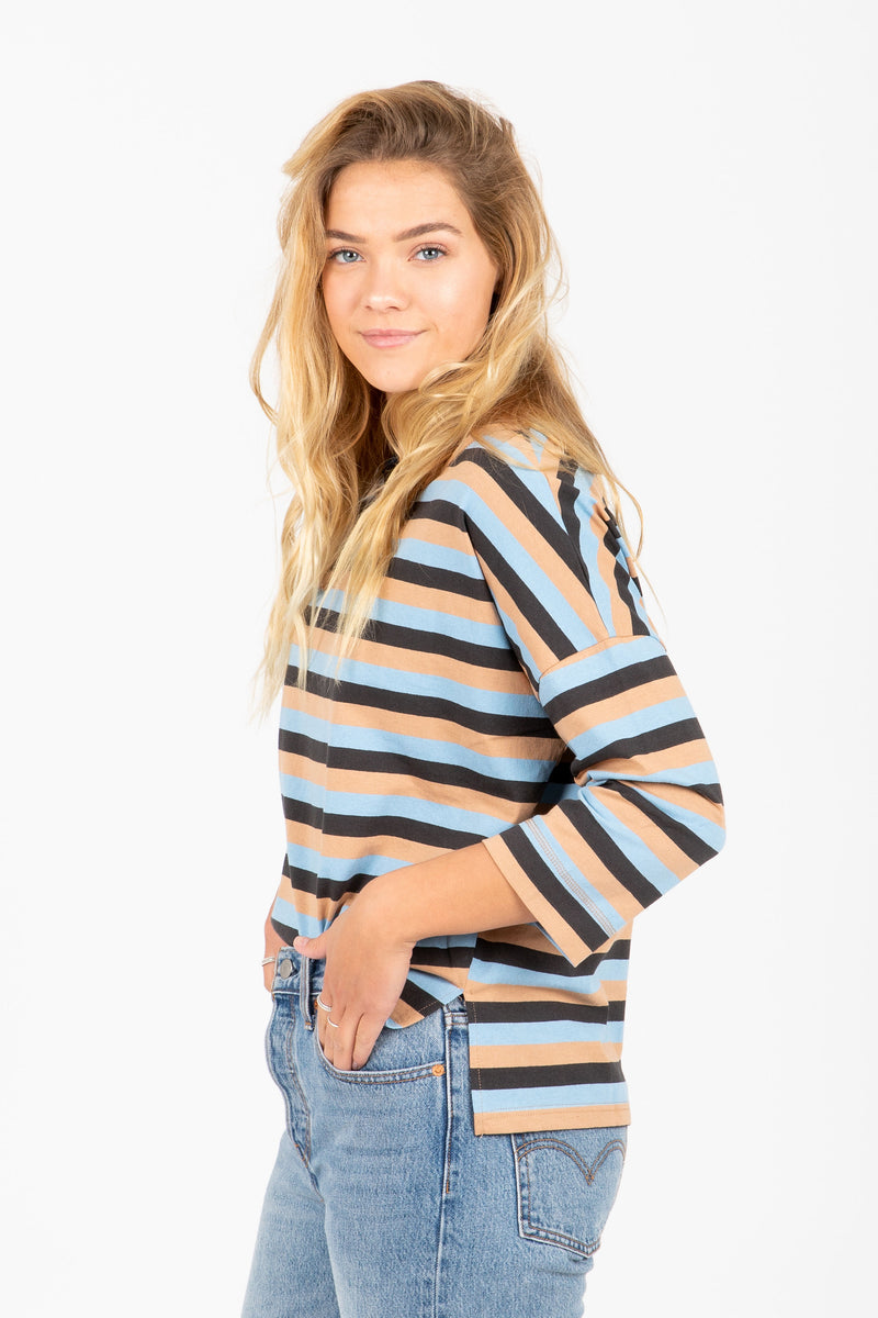 The Tingley Stripe Blouse in Camel Multi