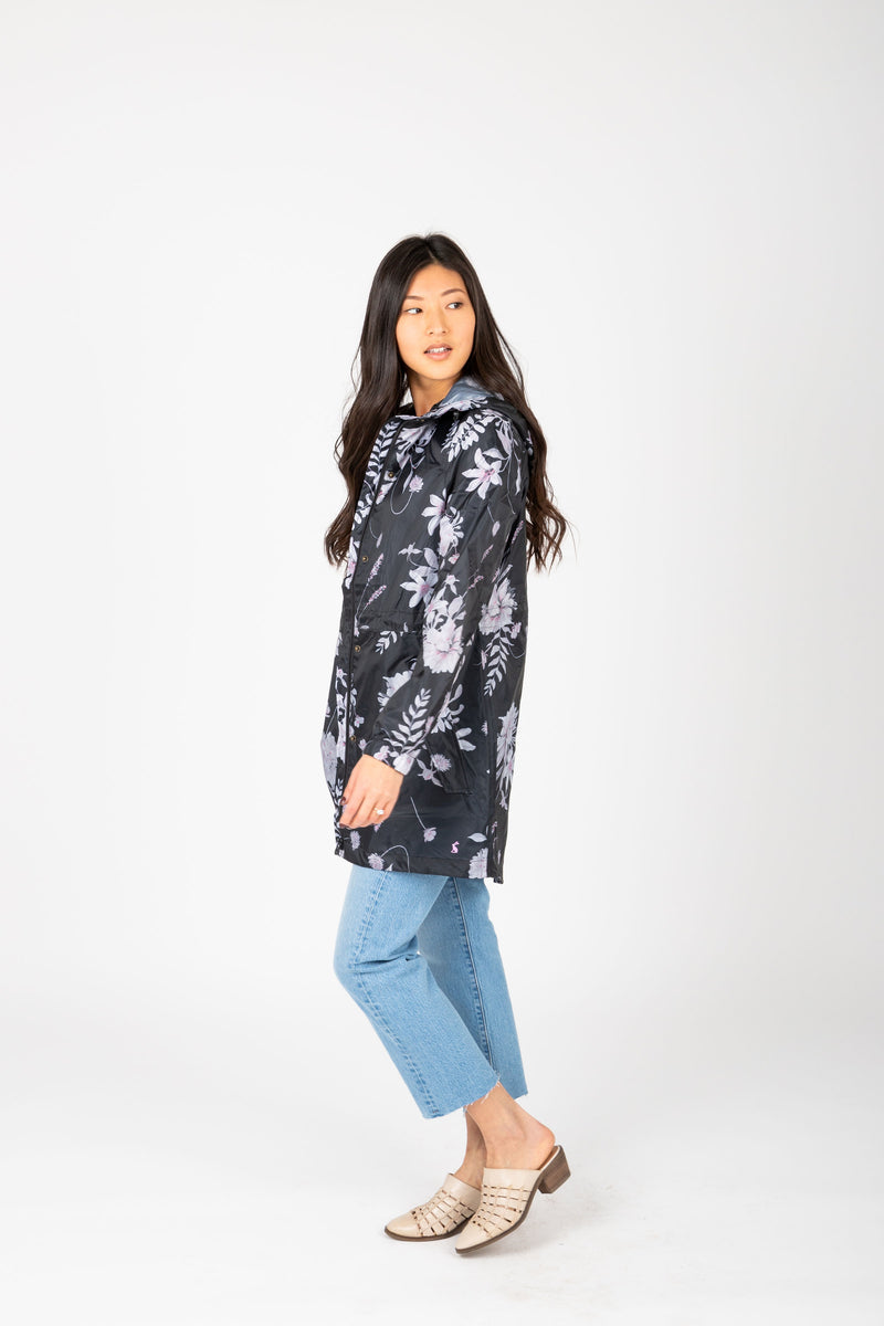 Joules: Golightly Printed Waterproof Packaway Jacket in Grey Floral, studio shoot; side view