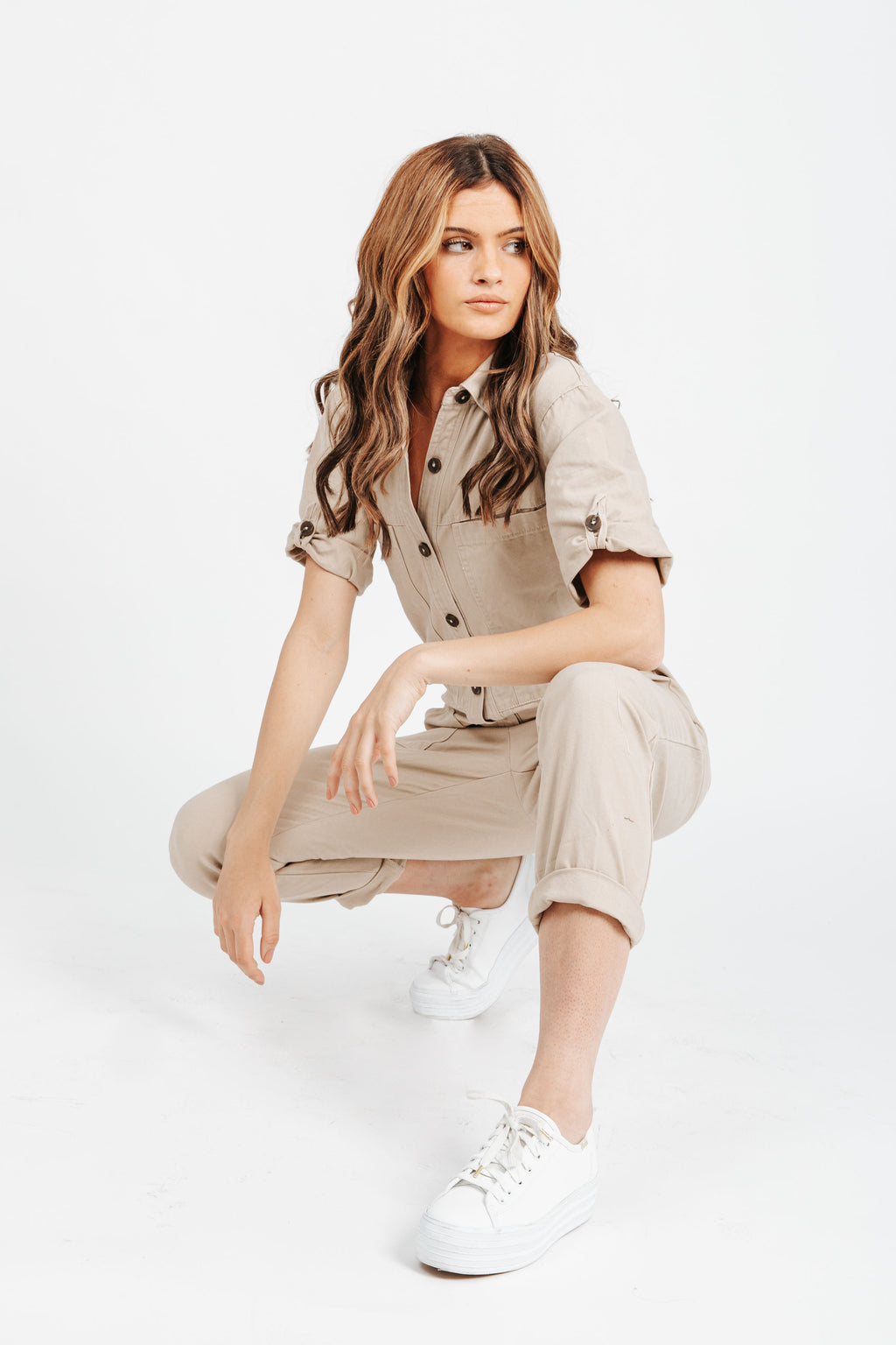 The Winnett Button Down Jumpsuit in Taupe