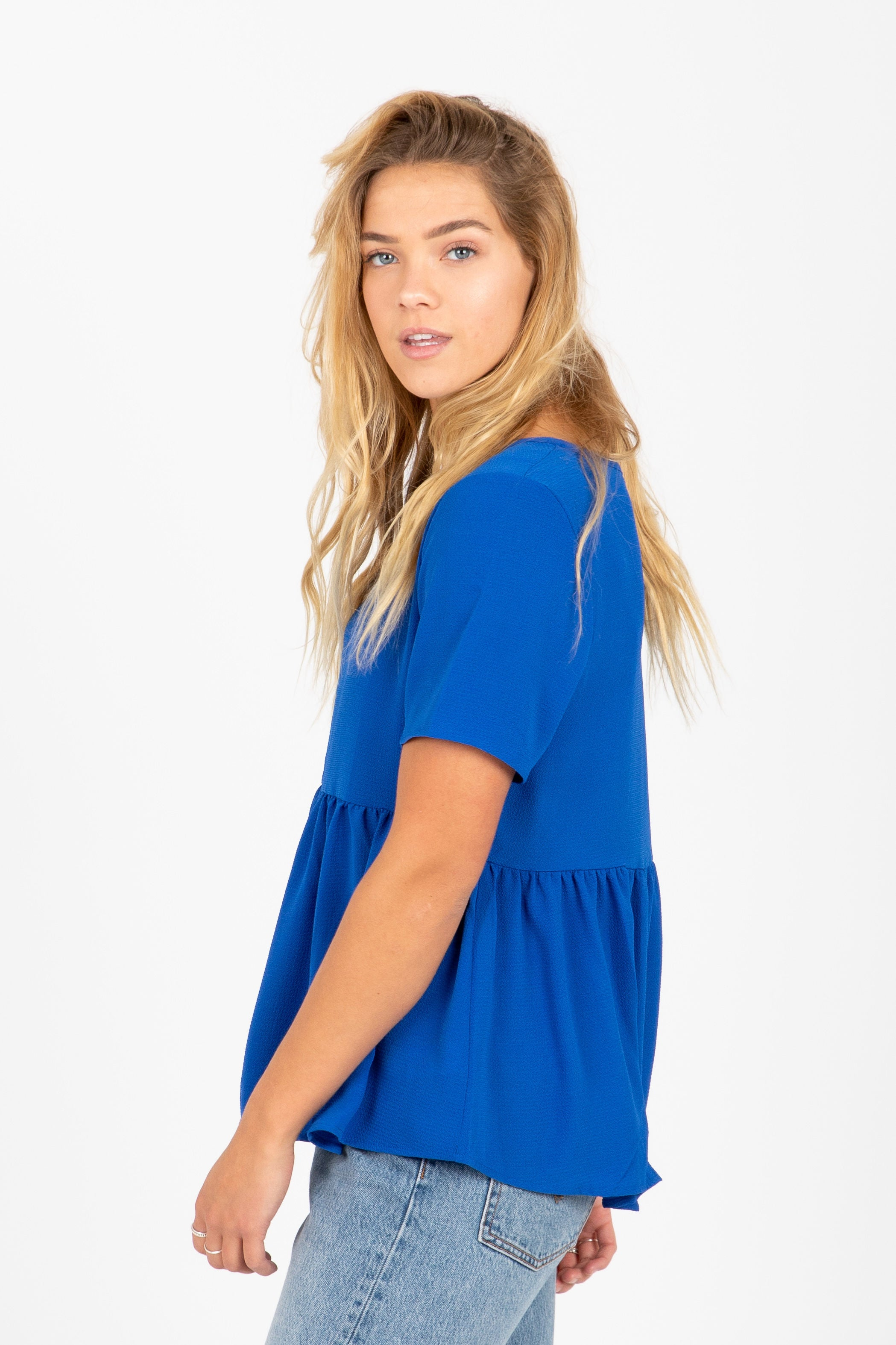 The Elysian Casual Peplum Blouse in Blue