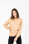 The Stevie Floral Detail Sweatshirt in Taupe, studio shoot; front view