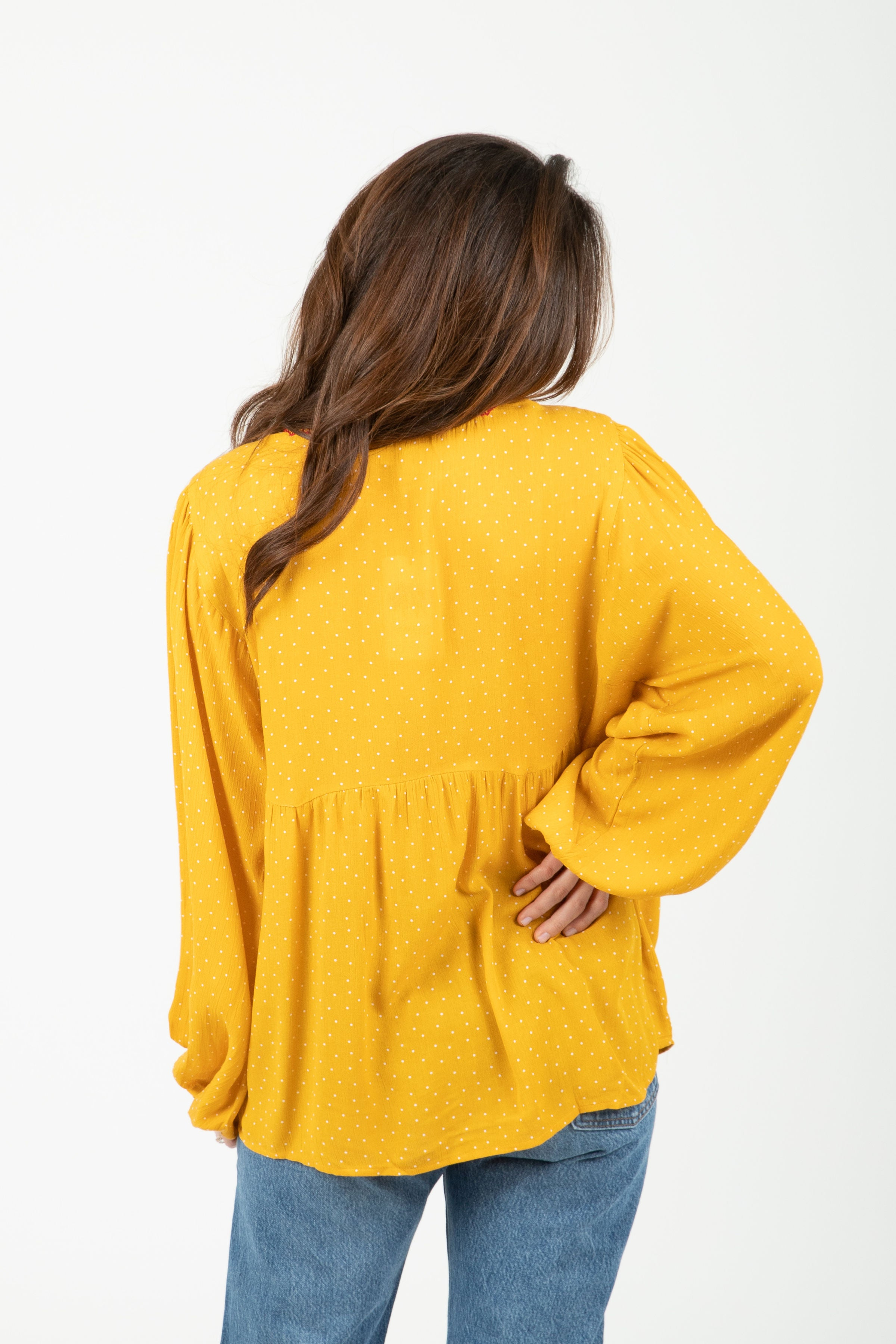 The Gretna Embroidered Floral Blouse in Mustard