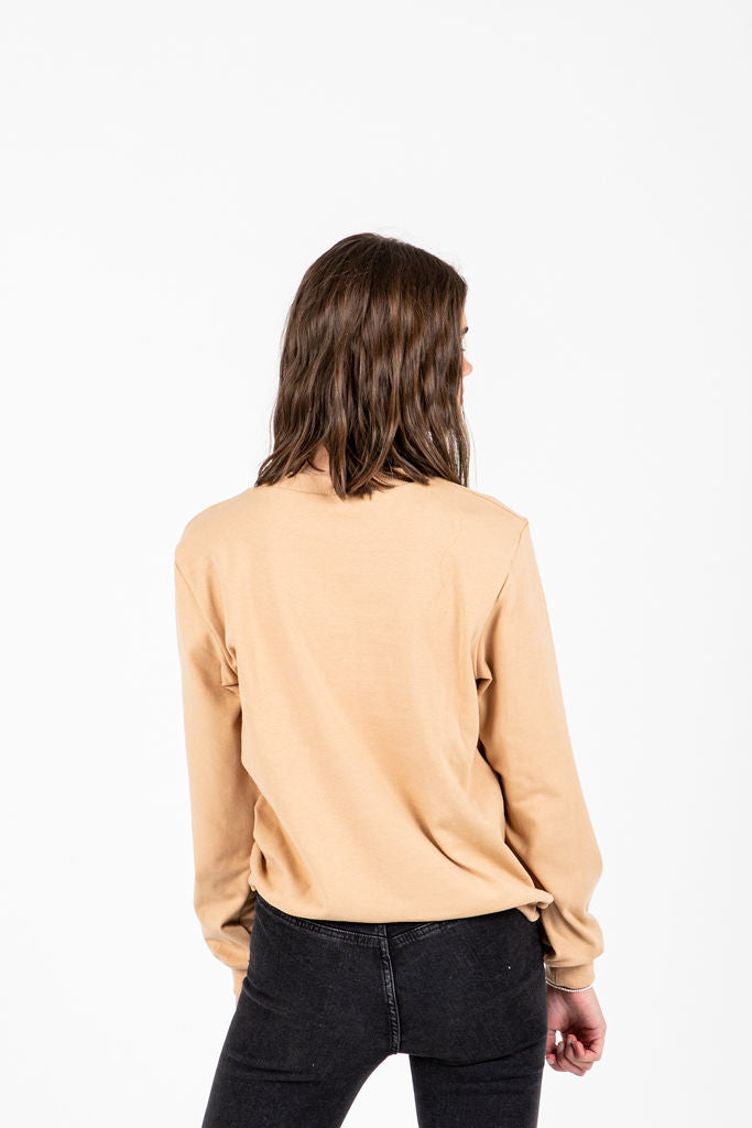 The Stevie Floral Detail Sweatshirt in Taupe, studio shoot; back view