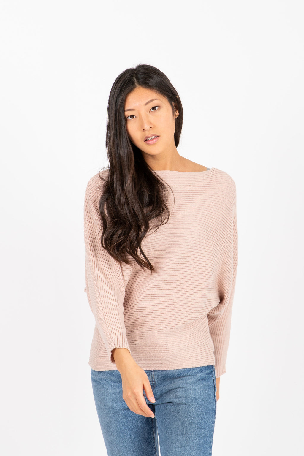The Francis Ribbed Sweater in Dusty Blush, studio shoot; front view