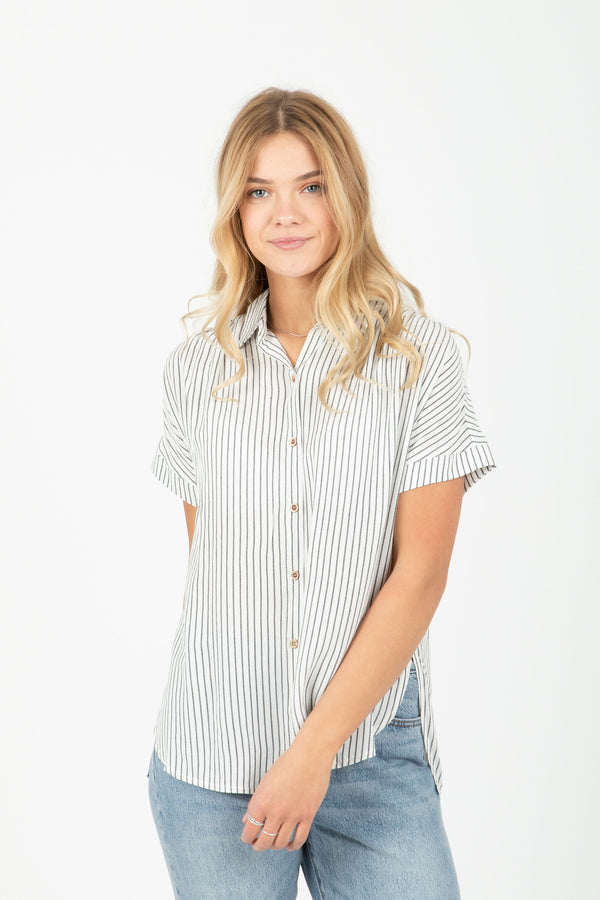 The Rawlins Striped Button Up Blouse in White