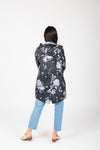 Joules: Golightly Printed Waterproof Packaway Jacket in Grey Floral, studio shoot; back view