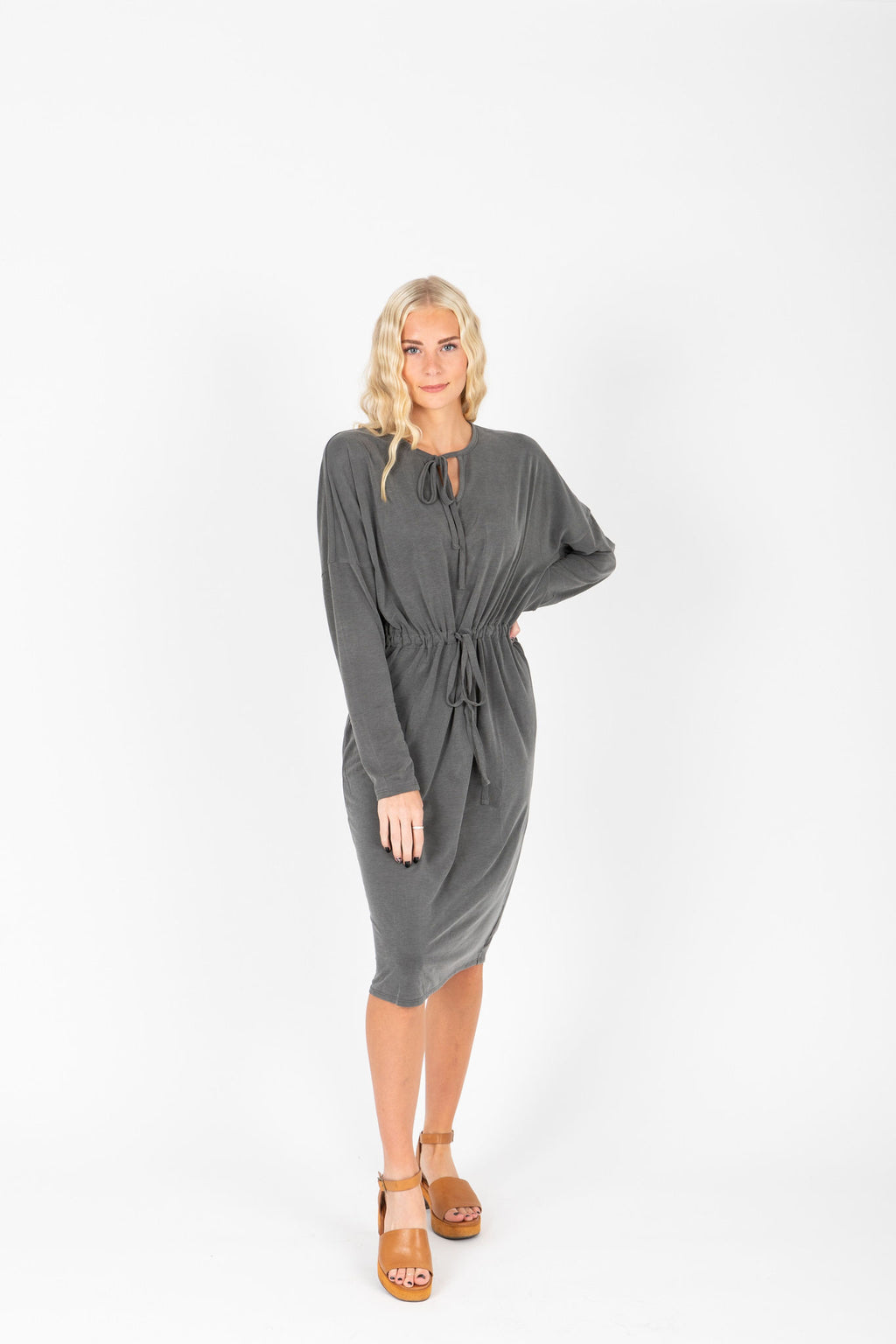 The Leena Casual Tie Dress in Slate, studio shoot; front view