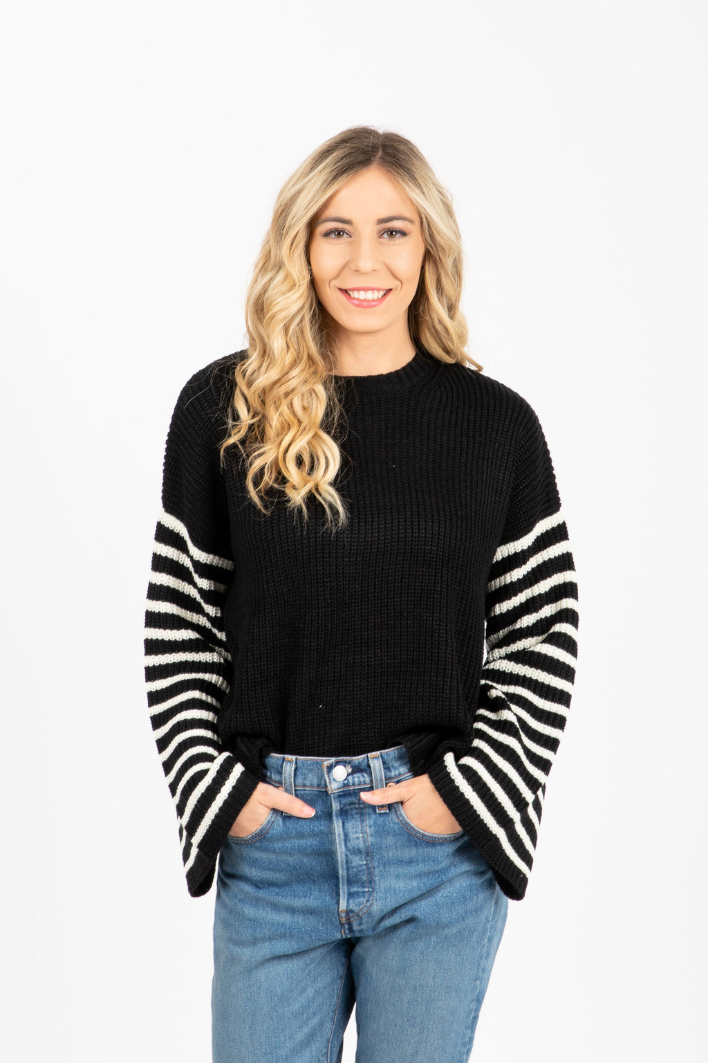 The Daisy Striped Sleeve Sweater in Black