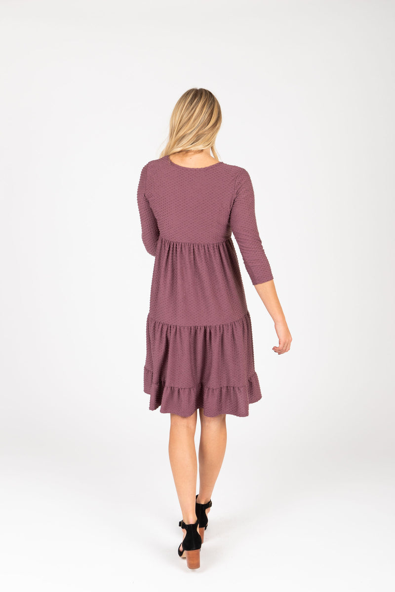 The Grantley Tiered Swiss Dot Dress in Plum