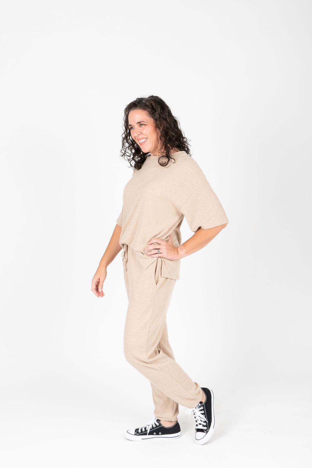 The Dale Cozy Ribbed Set in Taupe
