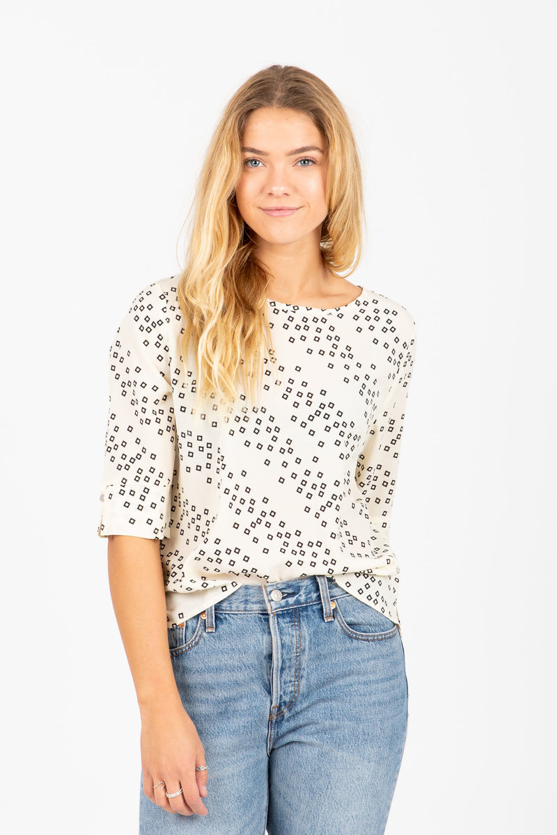 The Carrera Slant Pattern Blouse in Cream