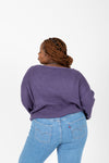 The Ryn Thick Knit Sweater in Midnight, studio shoot; back view