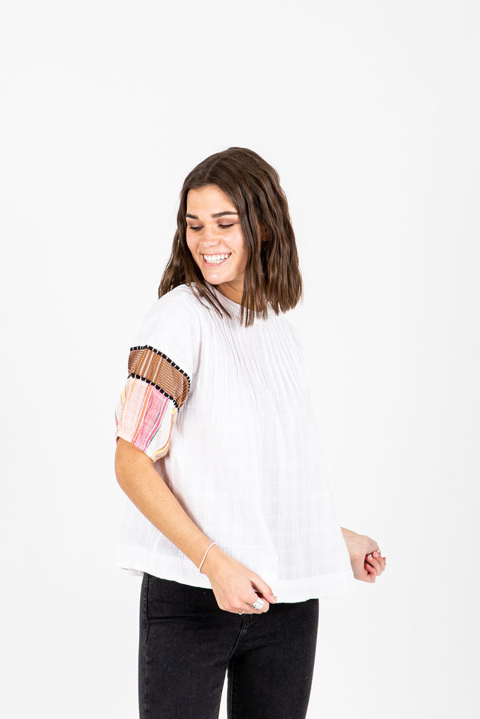 The Catalano Striped Detail Blouse in White, studio shoot; front view