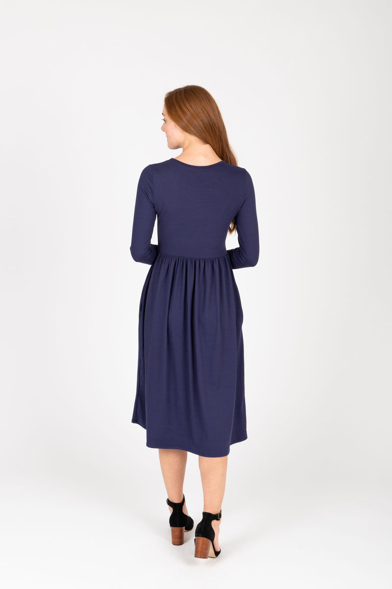 The Rosie Casual Empire Dress in Navy