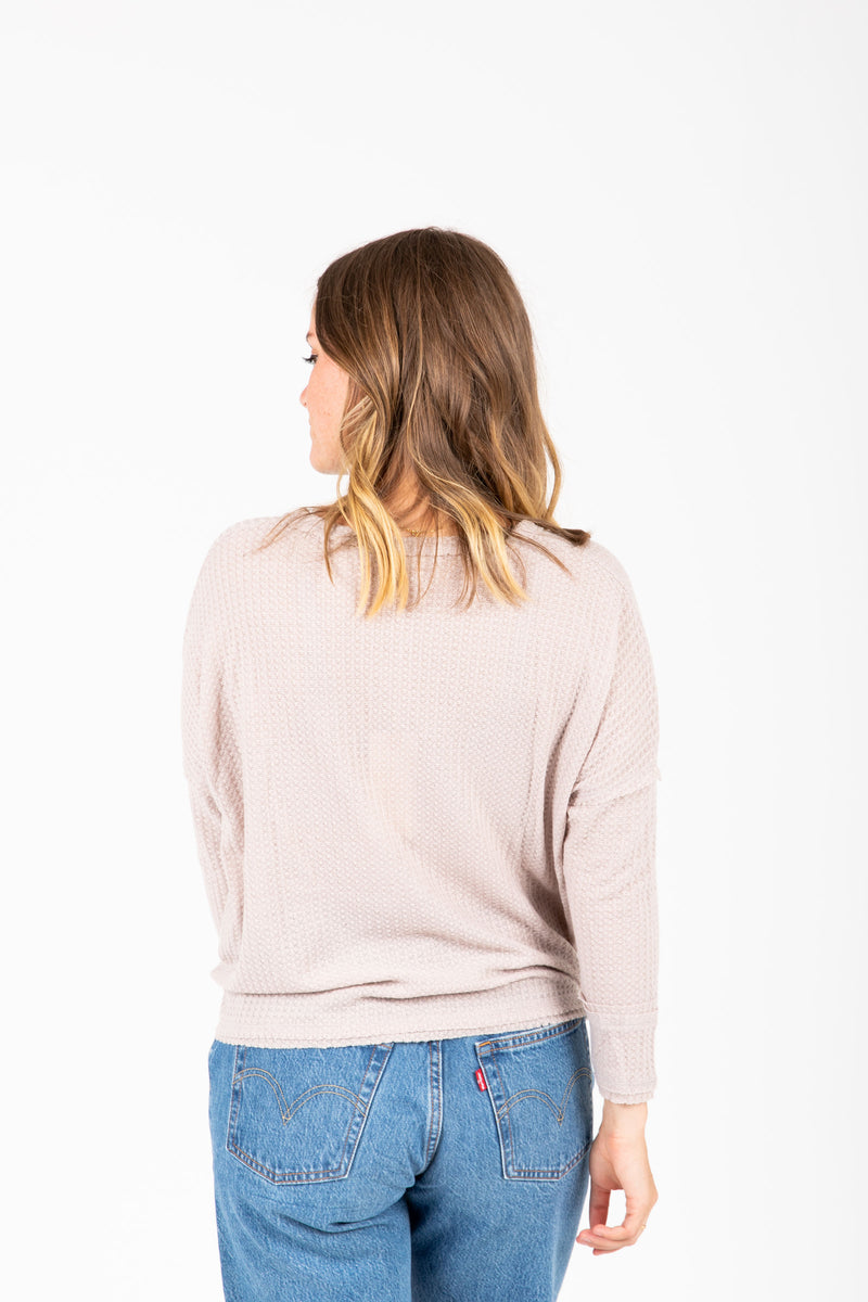 he Williams Waffle Tie Blouse in Grey, studio shoot; back view