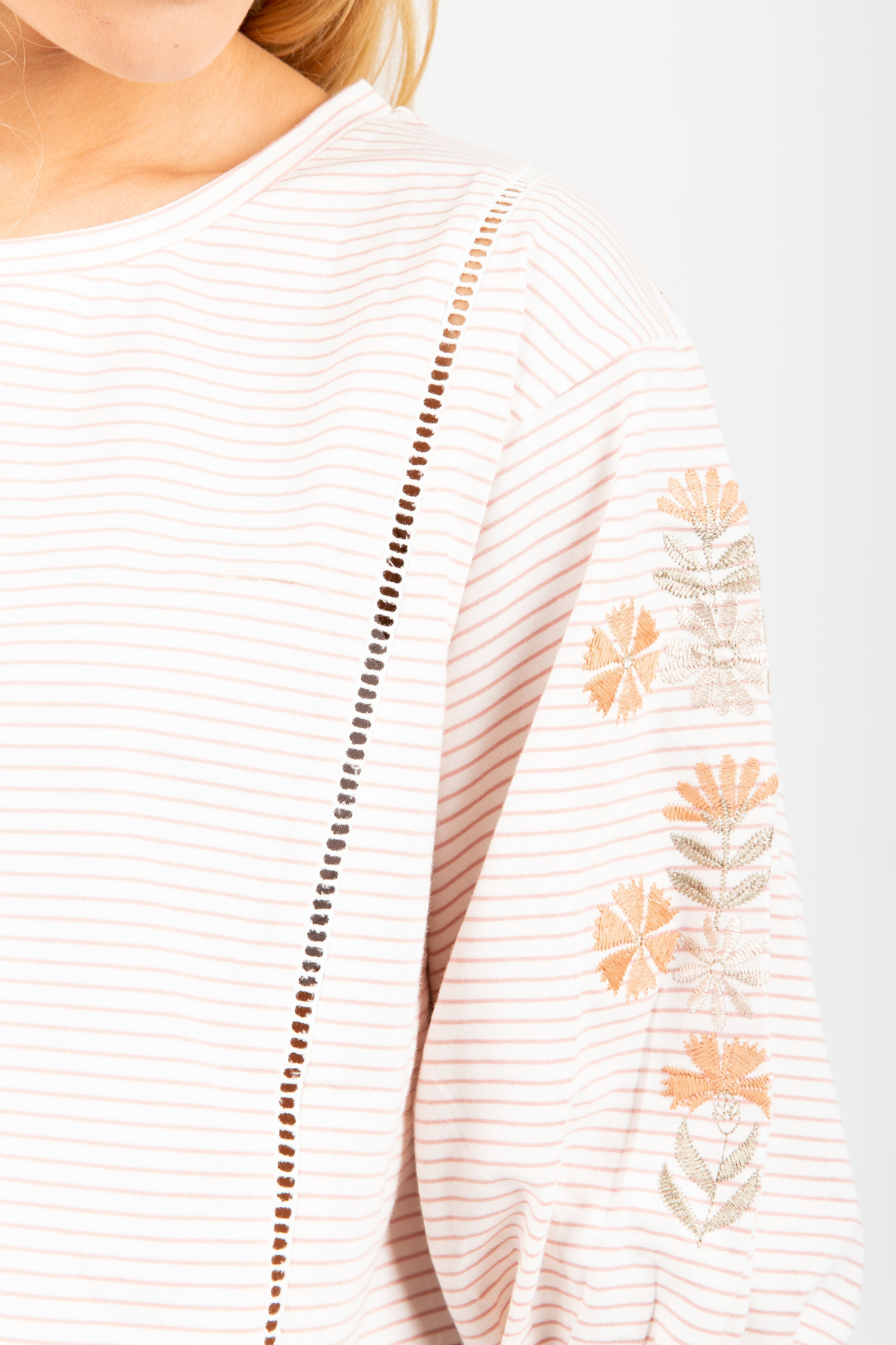 The Fortune Embroidered Sleeve Blouse in Taupe Stripe