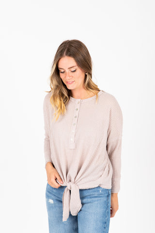 The Hattie Ruffle Peplum Blouse in Light Grey