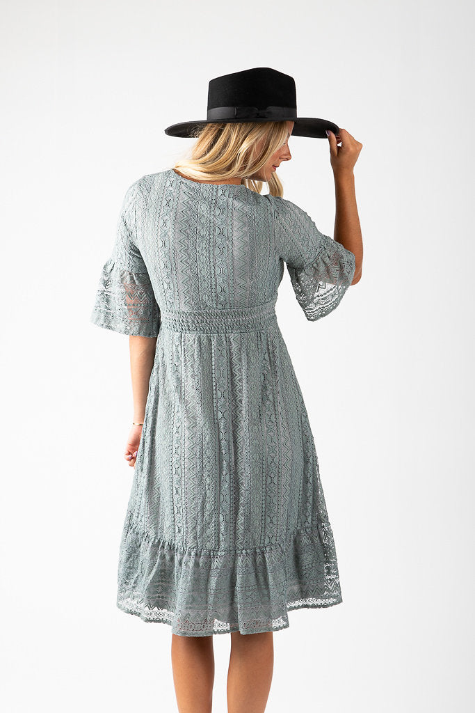 The Diana Lace Midi Dress in Slate