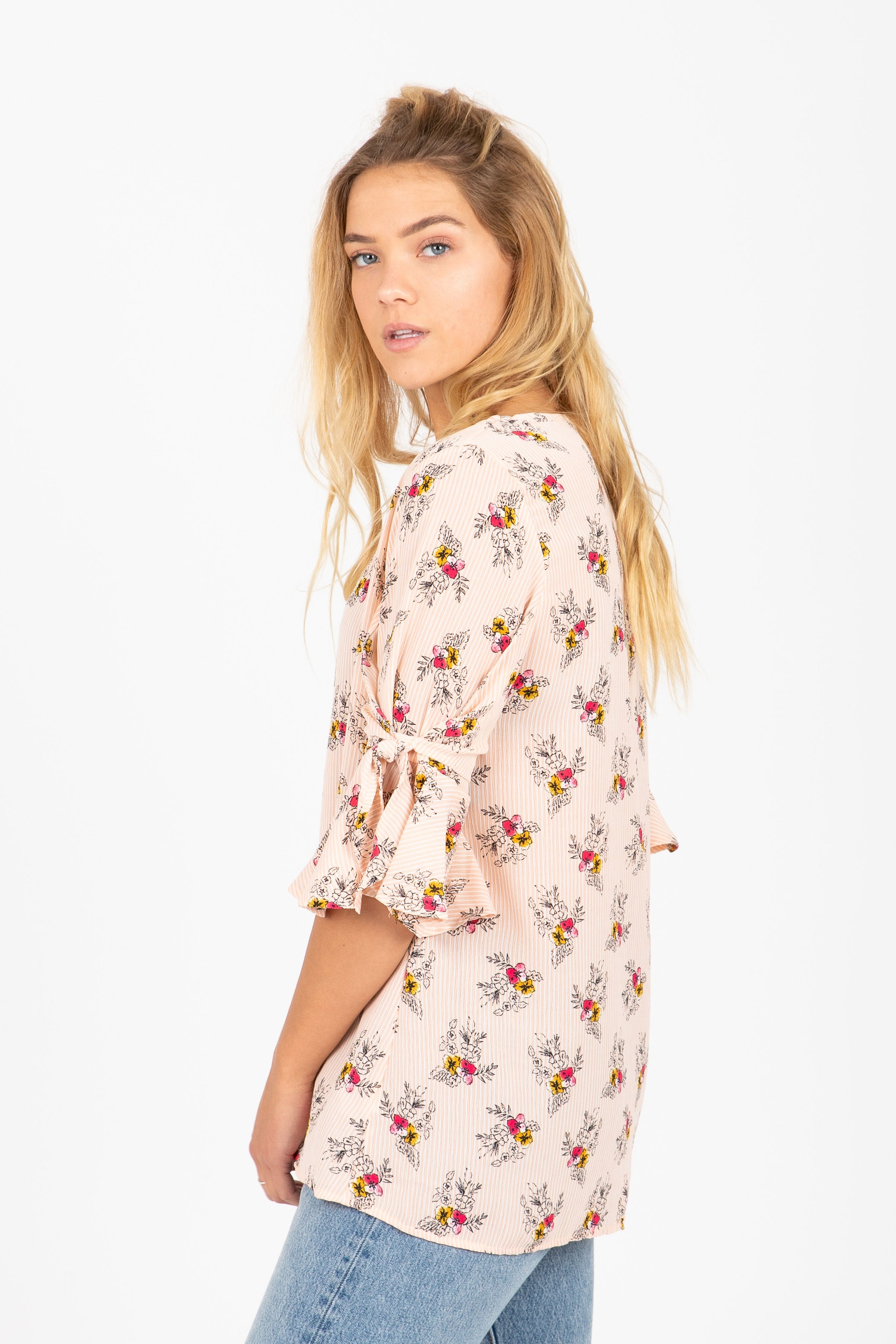 The Snap Floral Ruffle Sleeve Blouse in Blush