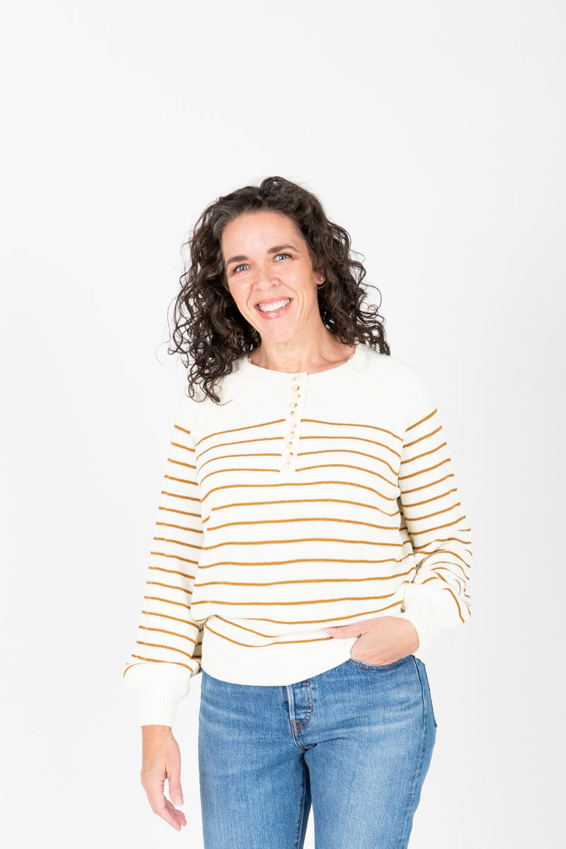 The Angelo Button Knit in Mustard Stripe, studio shoot; front view