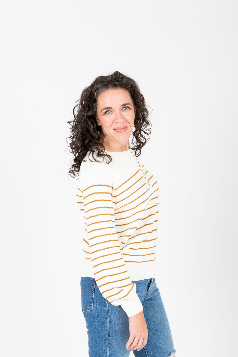 The Angelo Button Knit in Mustard Stripe, studio shoot; side view