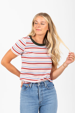 The Rainier Striped Boyfriend Tee in Sky