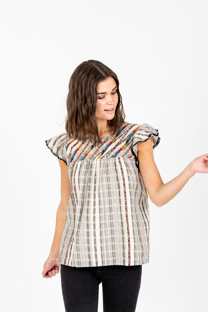 The Weston Stripe Detail Blouse in Grey, studio shoot; front view