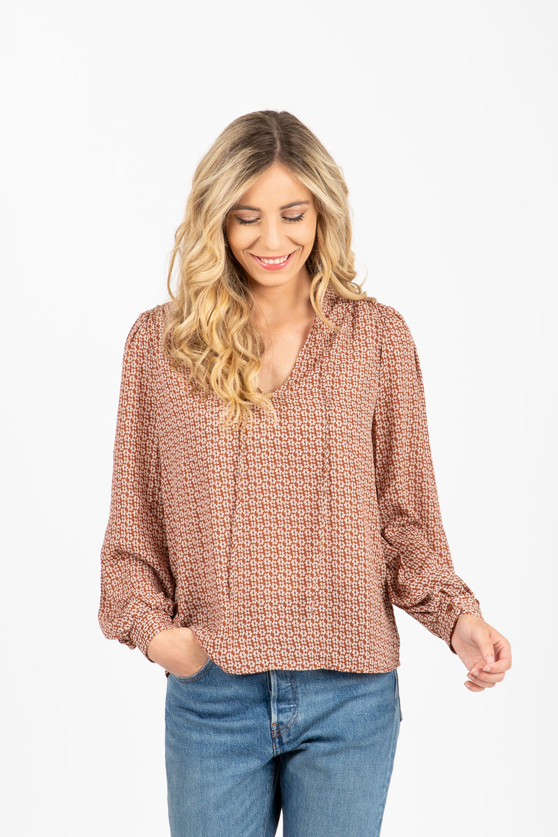 The Kimball Tie Front Blouse in Taupe, studio shoot; front view