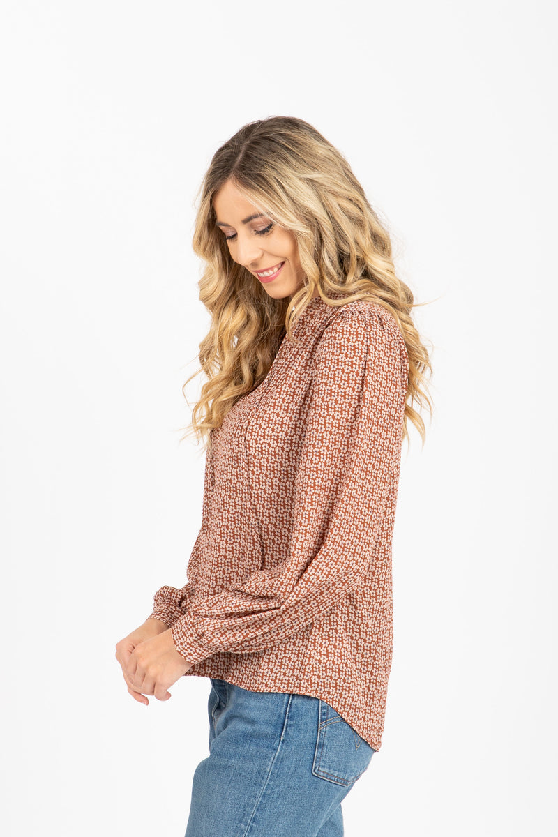 The Kimball Tie Front Blouse in Taupe, studio shoot; side view