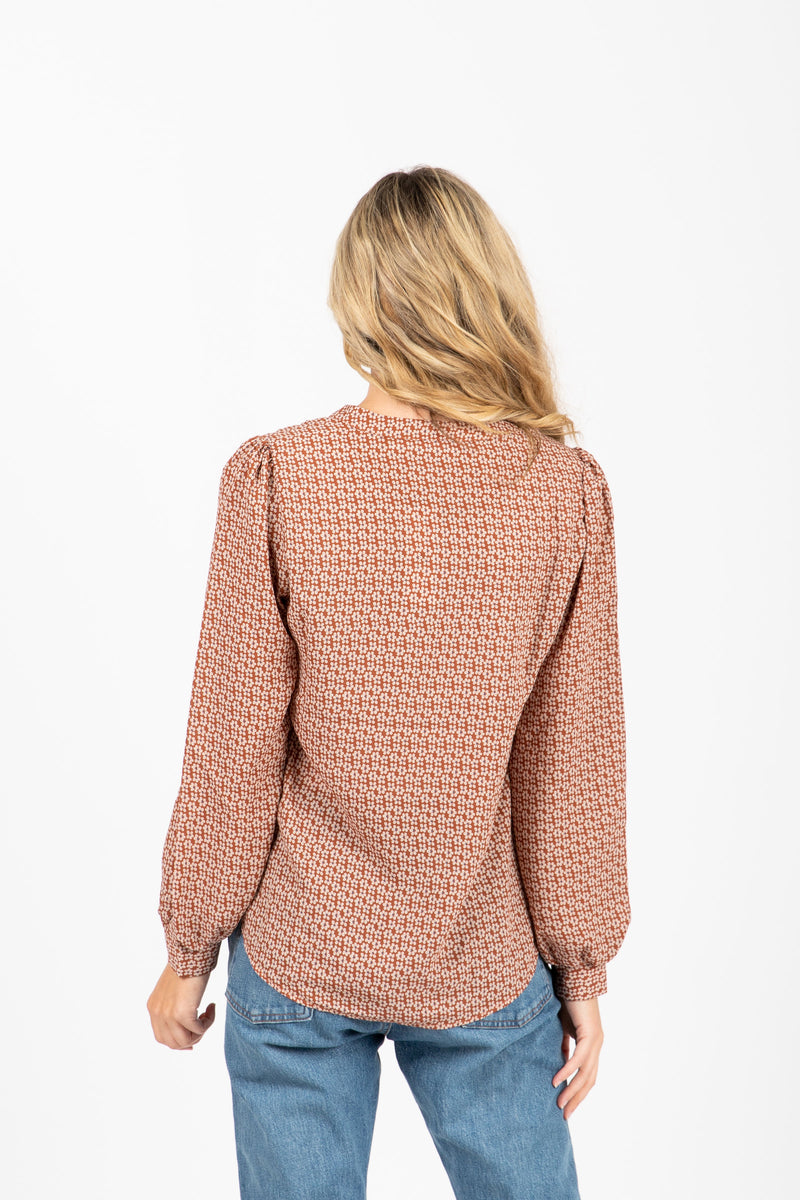 The Kimball Tie Front Blouse in Taupe, studio shoot; back view