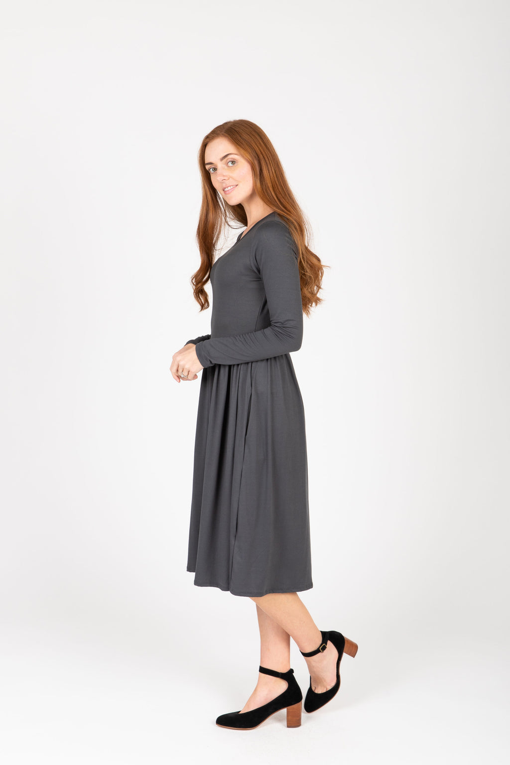 The Rosie Casual Empire Dress in Slate