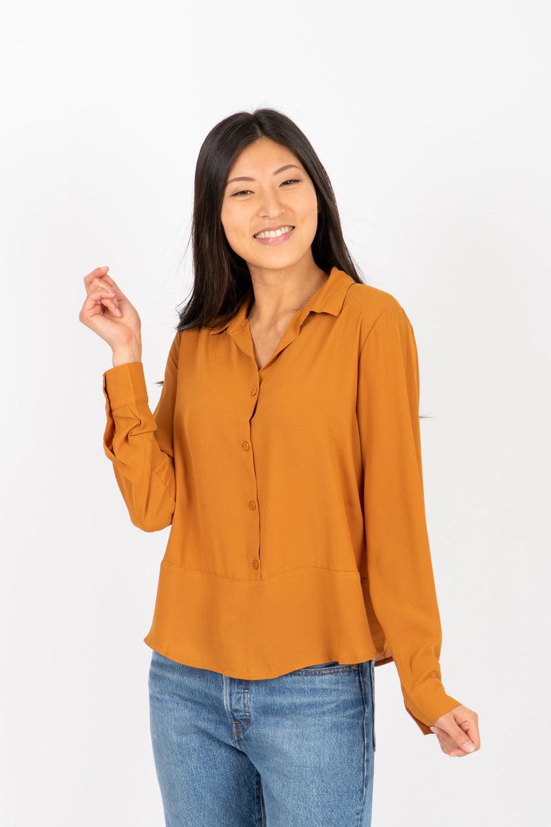 The Devon Draped Button Blouse in Ginger, studio shoot; front view