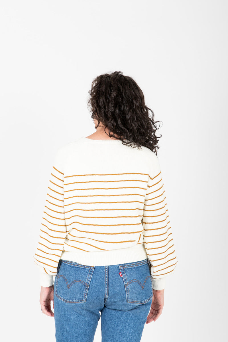 The Angelo Button Knit in Mustard Stripe, studio shoot; back view