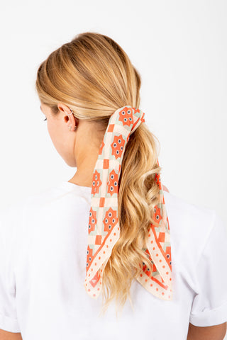 Camel Striped Ribbed Scrunchie