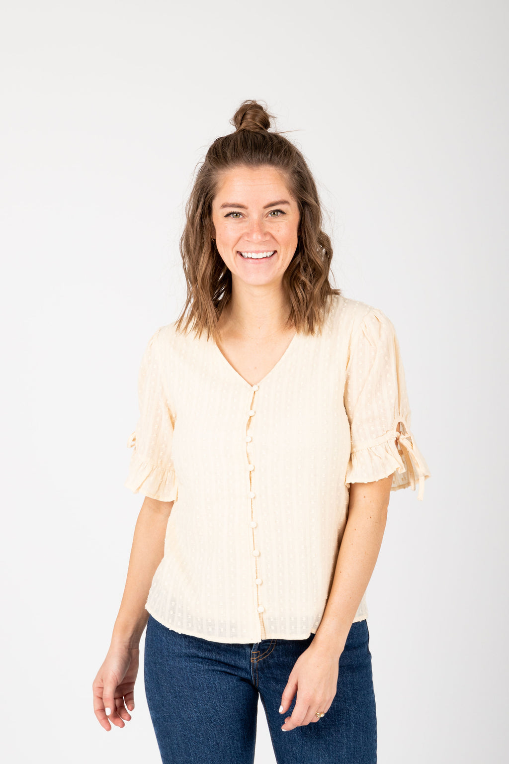 The Giavanna Detailed Button Blouse in Cream, studio shoot; front view