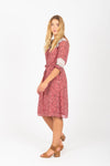 Piper & Scoot: The Zip Mixed Pattern Dress in Mauve
