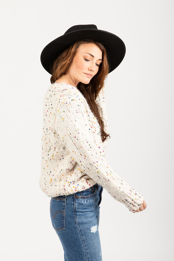 The Holland Speckled Sweater in Cream