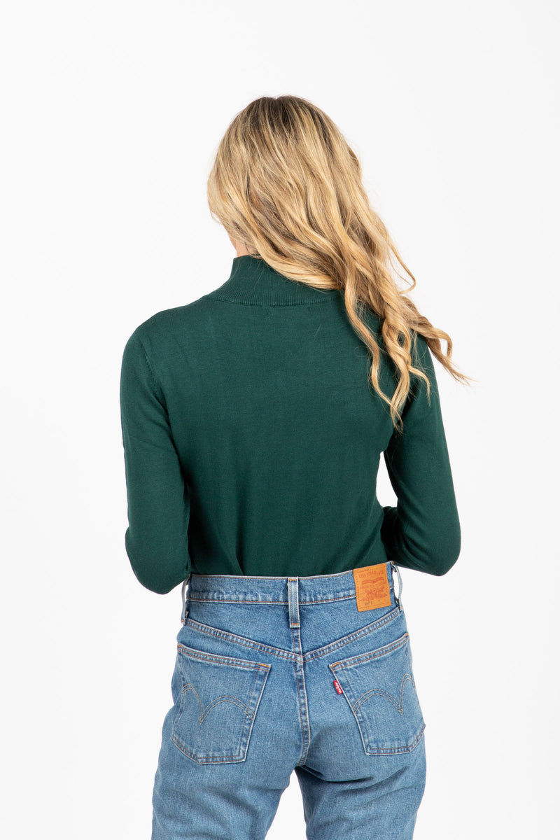The Tate Turtleneck Sweater in Hunter Green, studio shoot; back view