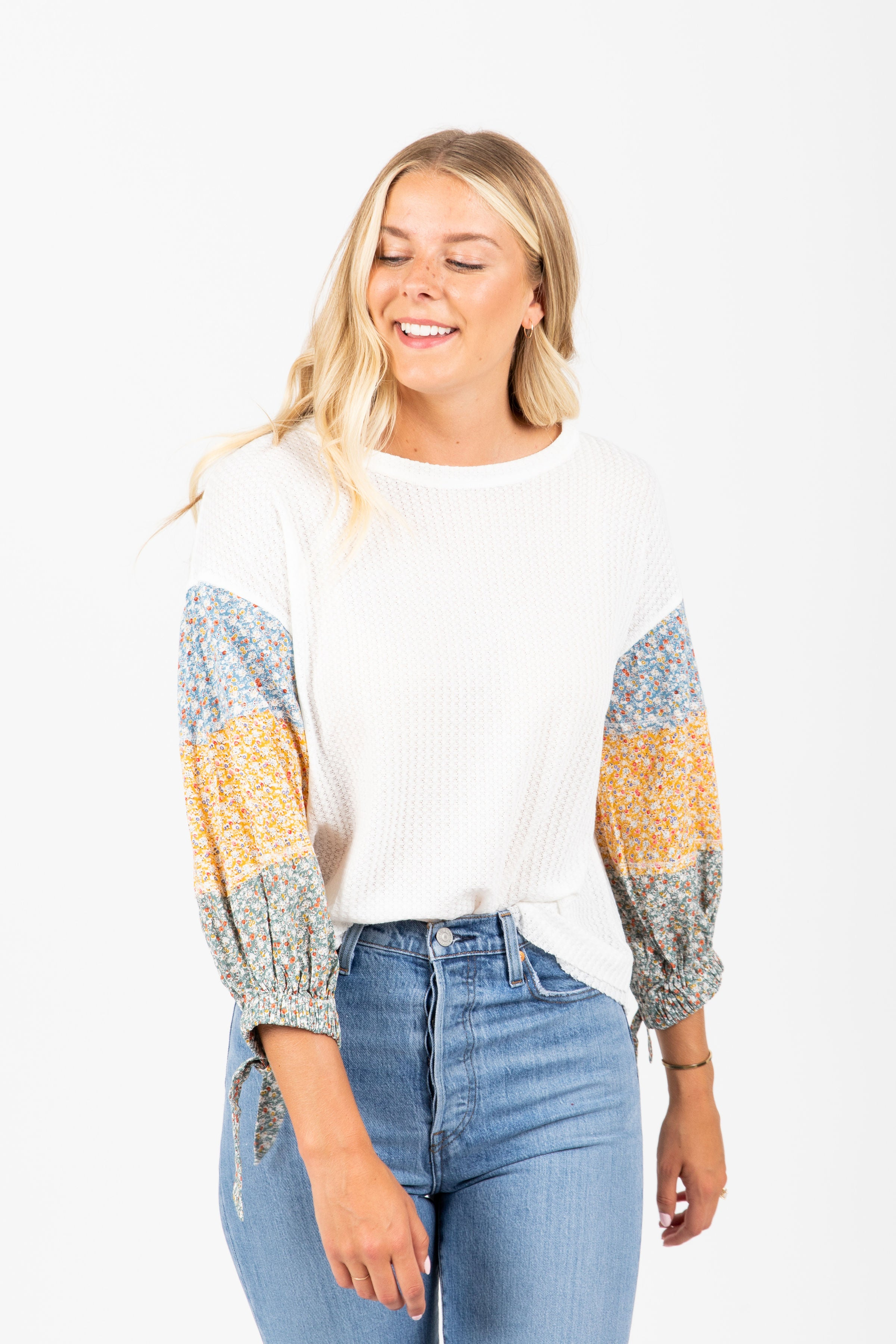 The Lalo Floral Contrast Blouse in White