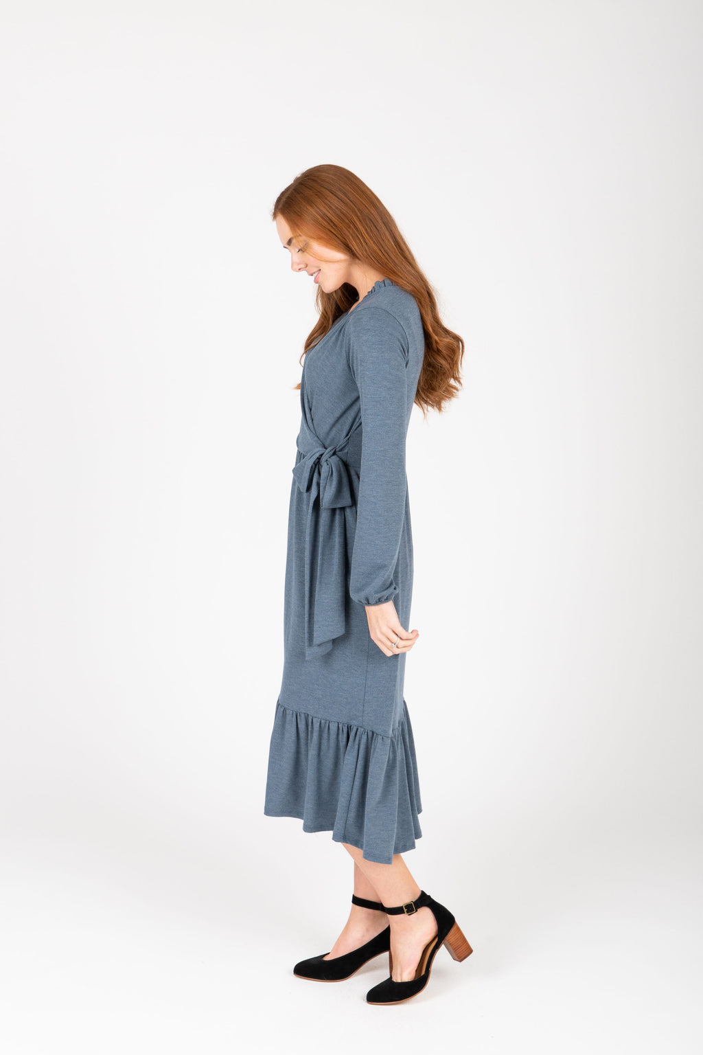 The Lorraine Ruffle Detail Dress in Denim