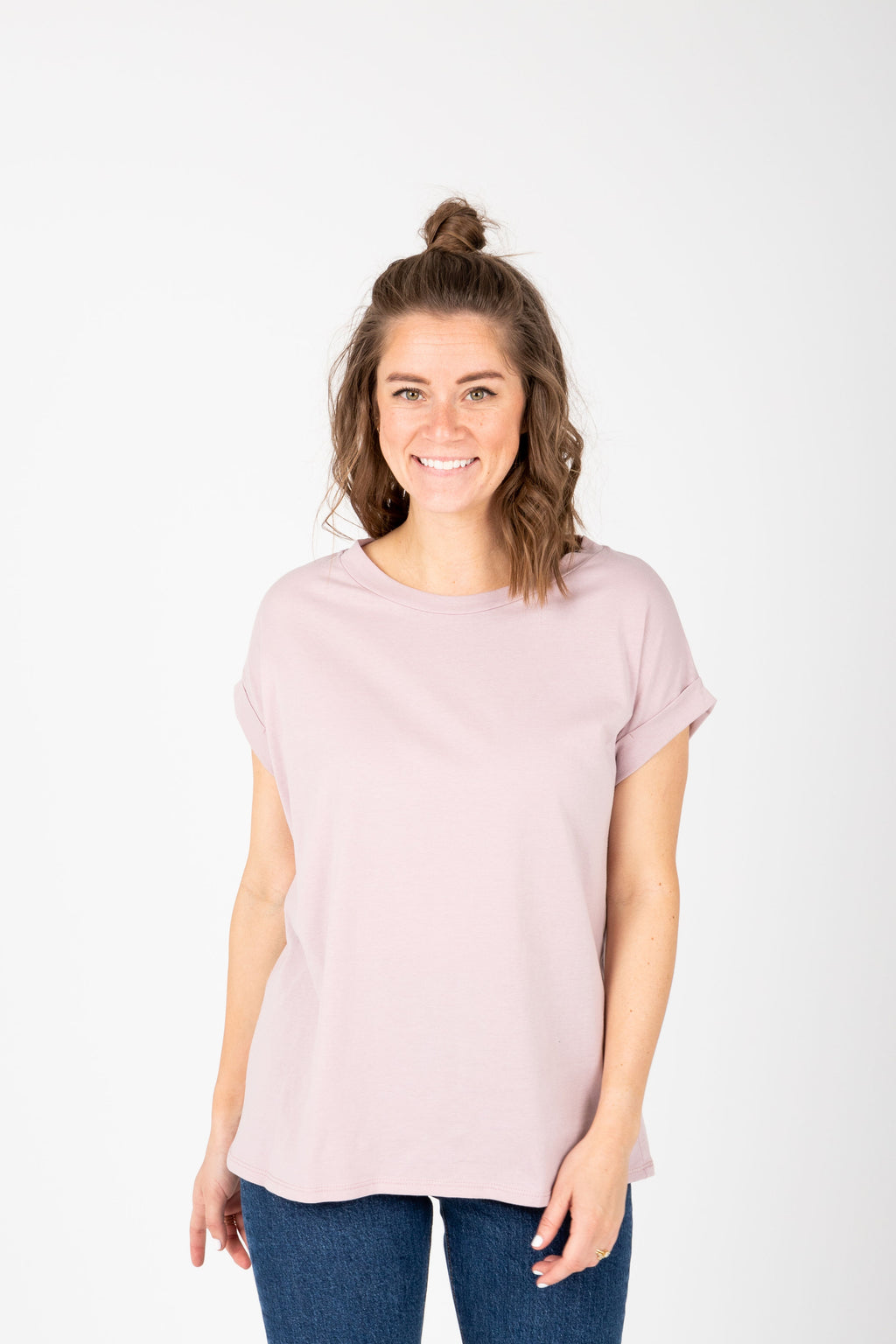 The Allegro Cuff Basic Tee in Blush, studio shoot; front view