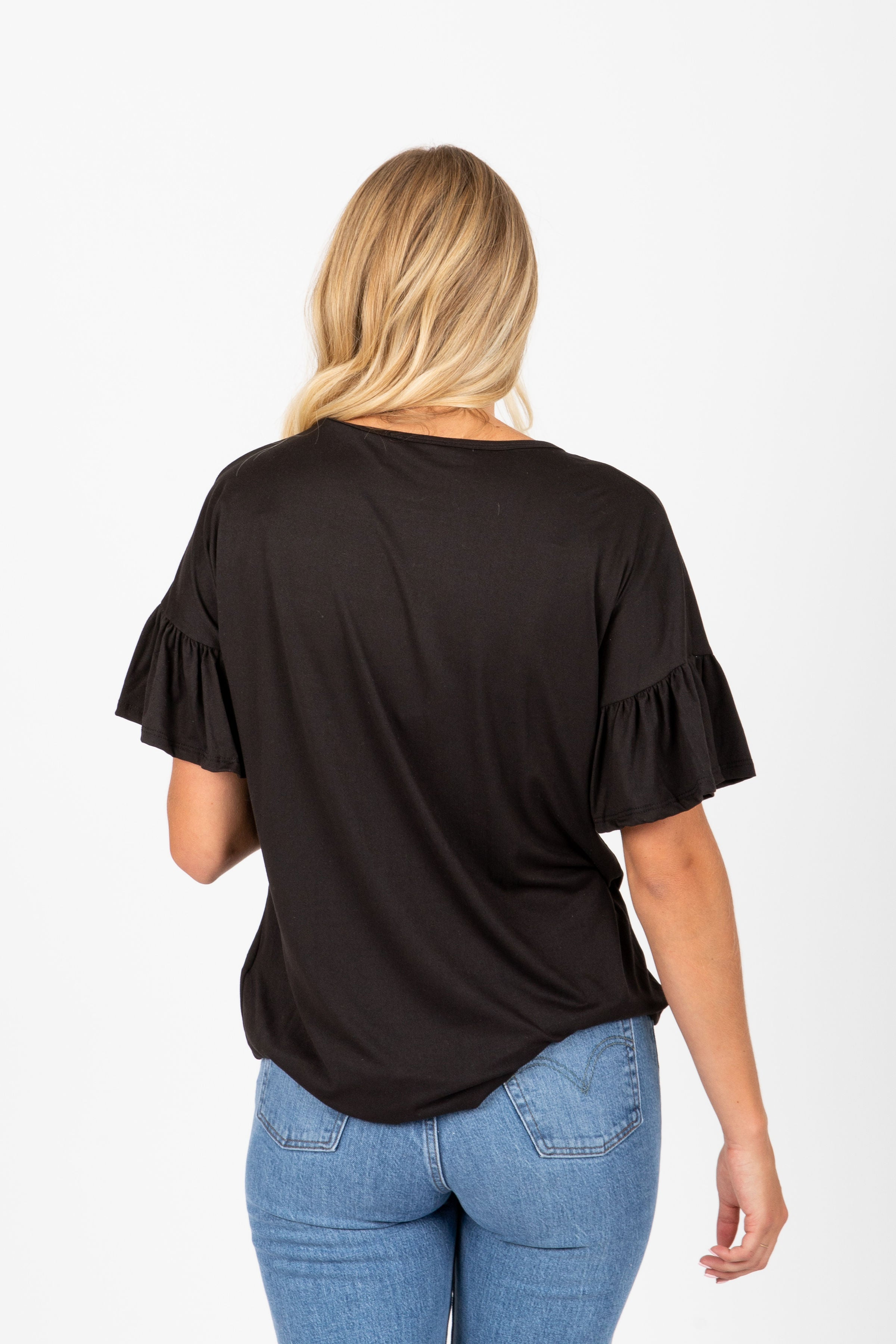 The Clover Button Tie Front Blouse in Black